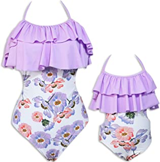 Mommy and Me One Piece Floral Swimsuit Family Matching Swimwear Monokini Bathing Suit Bikini Set