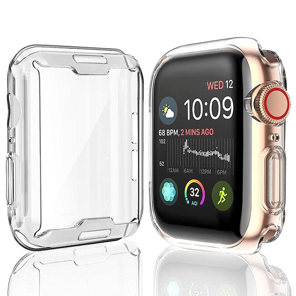 [2-Pack] Julk Case for Apple Watch Series 4 Screen Protector 40mm, 2018 New iWatch Overall Protective Case TPU HD Clear Ultra-Thin Cover for Apple Watch Series 4 (40mm)