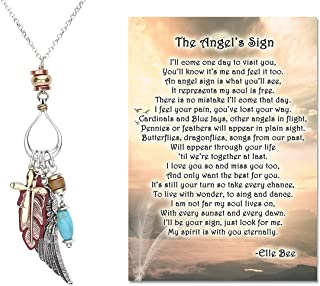 Lola Bella Gifts Silver-tone Guardian Angel Wing and Cross Beaded Bohemian Charm Necklace with The Angel's Sign Poem Card ...