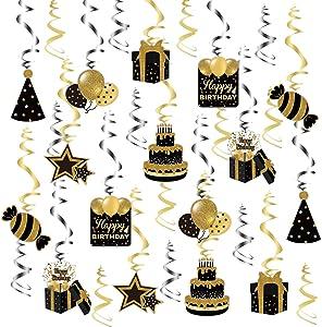 Happy Birthday Swirl Decorations,Birthday Party Hanging Swirls Ceiling Black and Gold Decorations,Celebration Birthday Party Supplies Ceiling Decor (30)