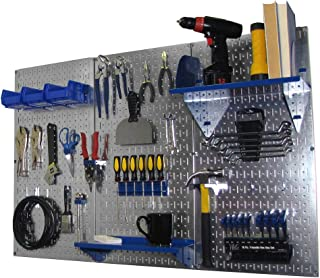 Wall Control Pegboard Organizer 4 ft. Metal Pegboard Standard Tool Storage Kit with Galvanized Toolboard and Blue Accessories