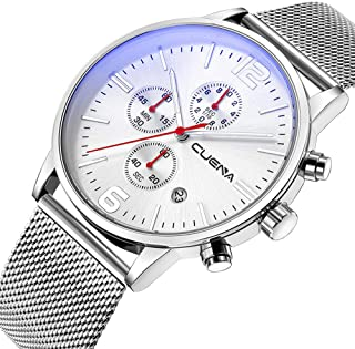 Mens Chronograph and 24 Hours Quartz Wrist Watch with Stainless Steel Strap