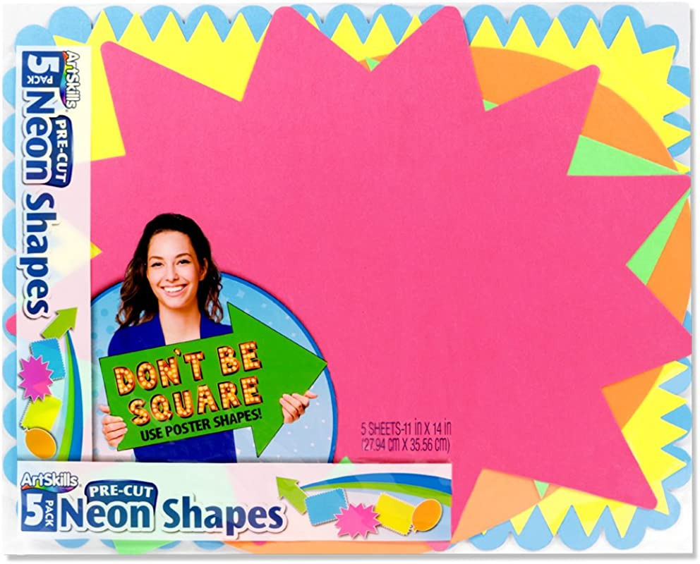 ArtSkills Small Neon Poster Board Shapes Arts And Crafts Supplies Pre Cut Poster Shapes 11 X 14 5 Pieces PA 1363