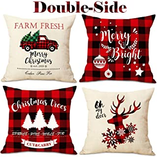 AerWo Christmas Throw Pillow Covers 18x18 inch, Double Side Buffalo Plaid Farmhouse Pillow Covers Cotton Linen Buffalo Check Throw Pillow Case for Christmas Winter Holiday Decorations(4 Pack)