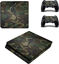 Camouflage Vinyl Skin Sticker For PlayStation 4 Slim PS4 Slim Console+2Pcs Sticker For PS4 Slim Controller Cover DecalProtector