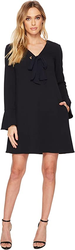 Donna Morgan - V-Neck Shift Dress w/ Tie at Center Front Neck
