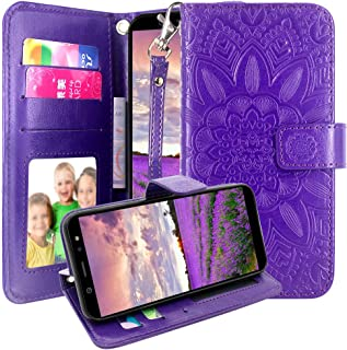 AT&T AXIA Case, Cricket Vision Case, Harryshell Kickstand Flip PU Leather Protective Wallet Case Cover with Card Slots Wrist Strap for AT&T AXIA QS5509A / Cricket Vision DQON5001 (Purple)