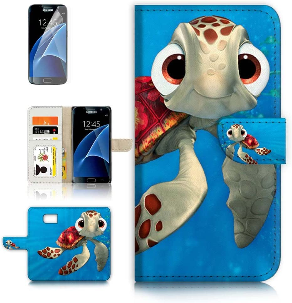 (for Samsung S7, Galaxy S7) Flip Wallet Case Cover & Screen Protector Bundle - A21273 Cartoon Turtle
