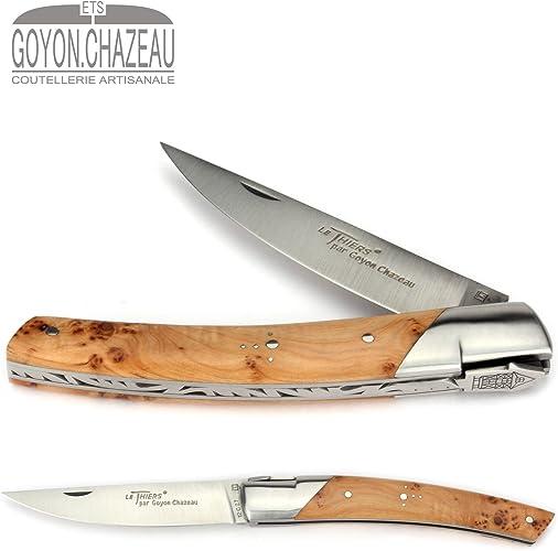 Goyon-Chazeau Le Thiers - Couteau Pliant 12 cm - modèle PIROU - Manche en genévrier - Lame 9 cm 12C27