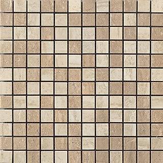 Samson 1043734 Travertini Polished 1X1 Mosaic Floor and Wall Tile, 12X12-Inch, Noce/Cream, 1-Piece