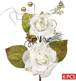 KI Store Christmas Poinsettia Flower Ornaments White Rose Pack of 6 for Christmas Tree Decorations Artificial Flower Picks Spray for Xmas Tree Wedding Centerpiece (White)