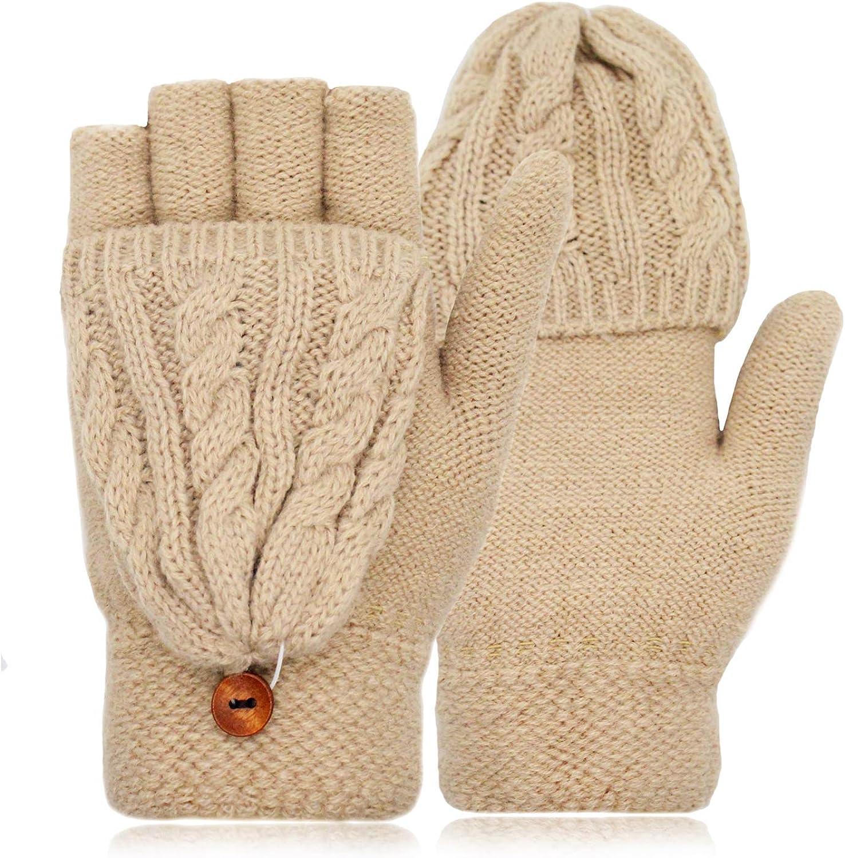ATIMIGO Winter Knitted Convertible Fingerless Gloves Soft Warm Mittens Gloves for Women Teen Girls