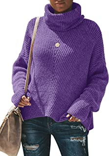 Soulomelody Womens Plus Size Turtleneck Sweaters Chunky Knit Long Sleeve Oversized Pullover