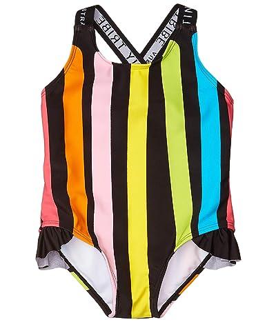 TINY TRIBE Stripe Cross-Back Frilly Tank (Infant) (Black) Girl