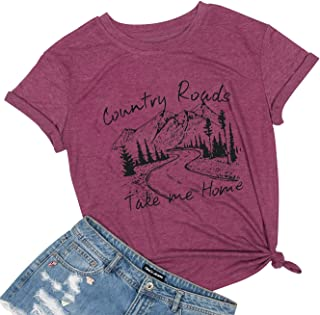 MAXIMGR Country Roads Take Me Home Shirt Women's Letter Print Country Graphic Short Sleeve Tees Top