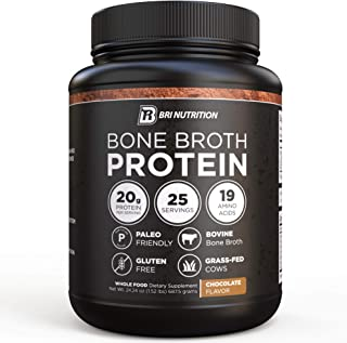 BRI Bone Broth Protein Powder Chocolate Flavor Whole Food Dietary Supplement from Grass fed Beef, Great Natural Source of Collagen, Peptides and Amino Acids; Gluten Free & Keto/Paleo Friendly