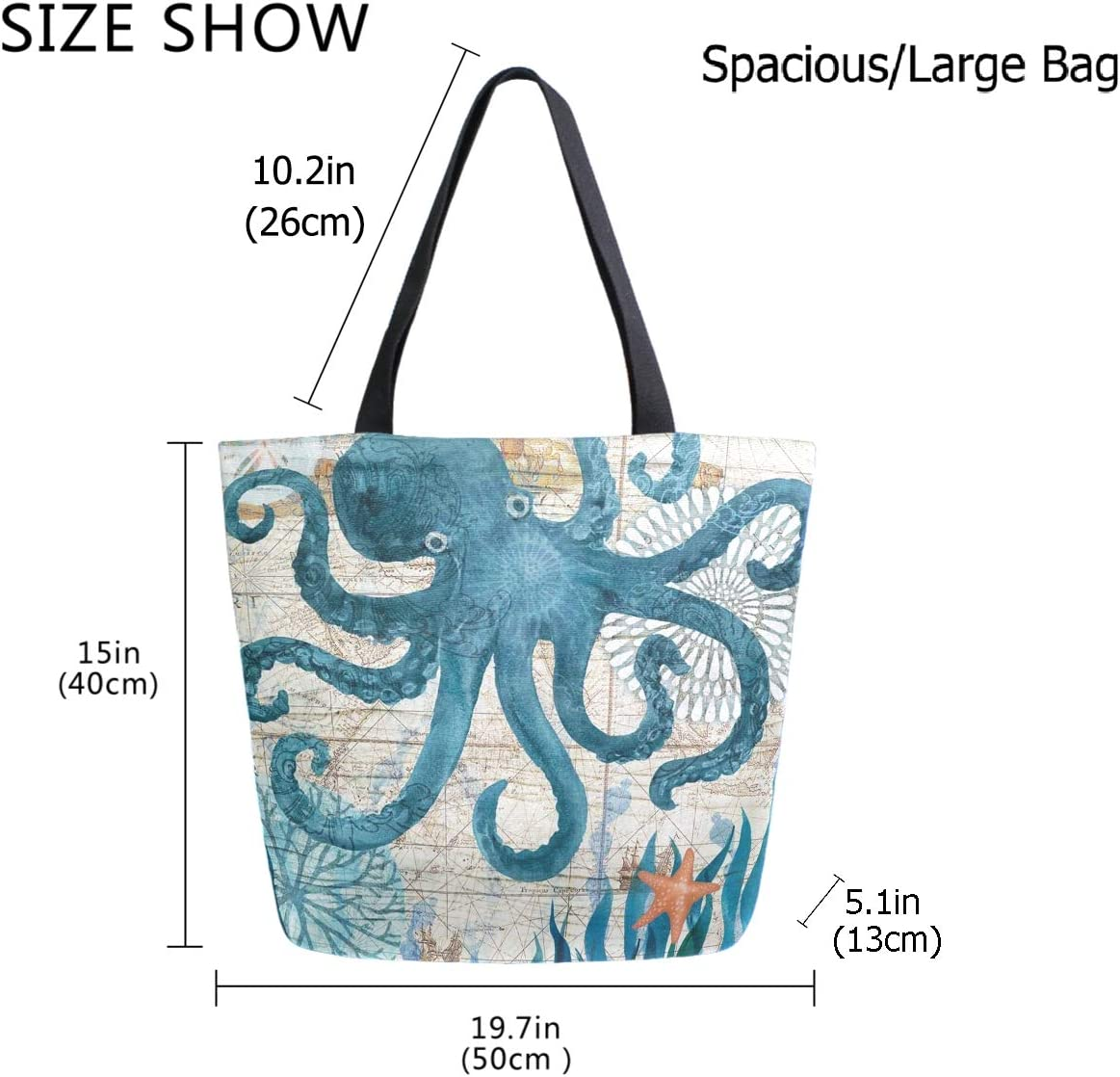 ZzWwR Stylish Rainbow Tie-dyed Extra Large Canvas Beach Travel Reusable Grocery Shopping Tote Bag Portable Storage HandBag