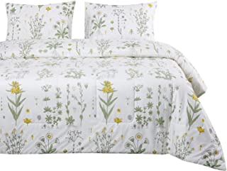 Wake In Cloud - Botanical Quilt Set, Yellow Flowers Green Leaves Floral Pattern Printed on White, 100% Cotton Fabric with Soft Microfiber Inner Fill Bedspread Coverlet Bedding (3pcs, King Size)