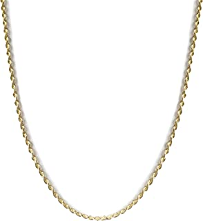 14K Gold 2MM Solid Rope Diamond-Cut Link Chain Necklace, Shiny & Solid, 14K Gold Rope Chain for Men & Women, Gold Chain fo...