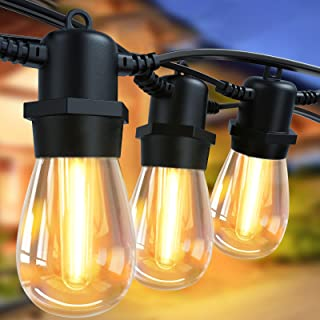 48FT LED Outdoor String Lights-Shatterproof Patio Lights with 15 Bulbs, Waterproof Outdoor String Lights Decorative Backya...
