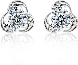 b2d79a3a7 Earrings Women, Amilril 925 Sterling Silver Small Stud Earrings 5A Cubic  Zirconia, Fine Jewellery