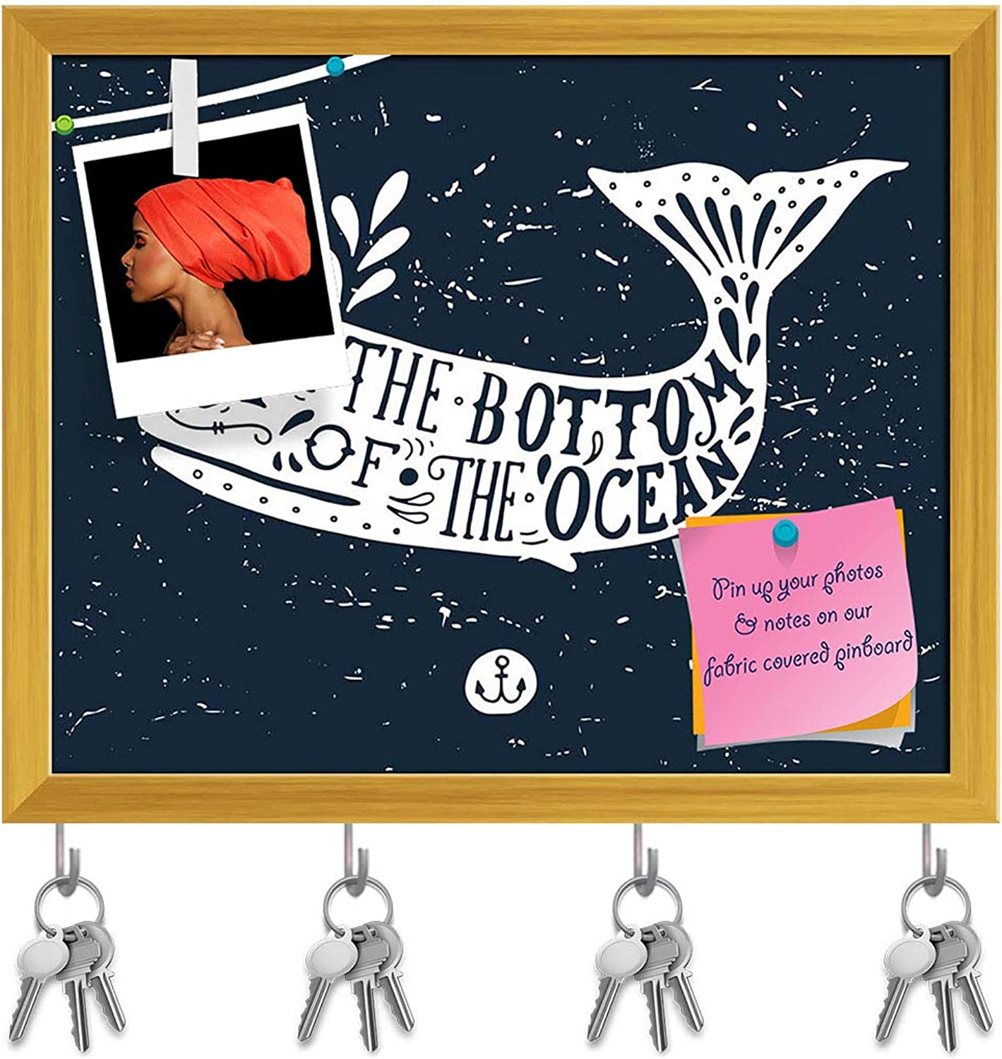 Artzfolio Whale On Blackboard Key Holder Hooks   Notice Pin Board   golden Frame 19.8 X 16Inch
