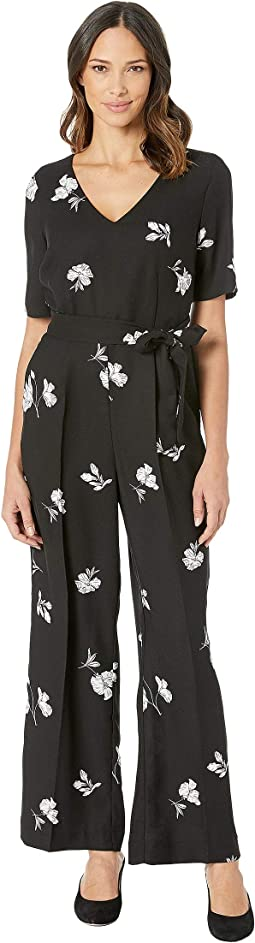 Elbow Sleeve Tossed Flowers V-Neck Jumpsuit