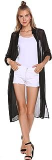 Zeagoo Sheer Chiffon Long Cardigans Women's Roll Up Sleeve Open Front Cover Up Button Shirt