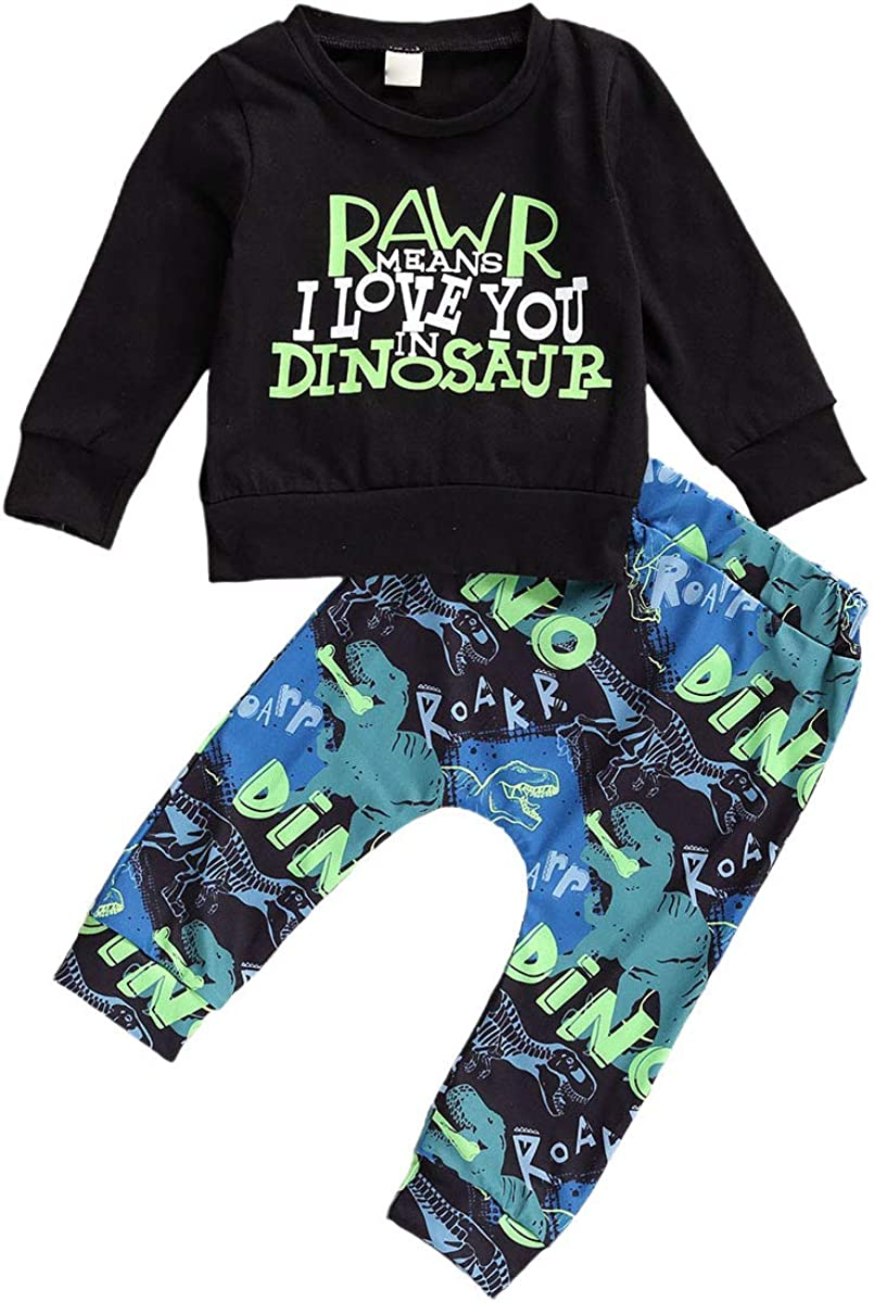 Toddler Baby Boy Girl Casual Outfit Long Sleeve Letters Leopard Sweatshirt Top + Plaid Dinosaur Pant 2pcs Fall Winter Clothes