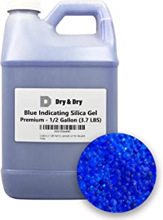 Dry&Dry [3.7 LBS] Half(1/2) Gallon Premium Blue Replacement Desiccant Indicating Silica Gel Beads(Industry Standard 2-4 mm) - Reusable