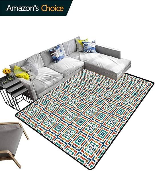 TableCoversHome Geometric Polka Dot Door Mats Inside Angled Stripes Design Pattern Printing Carpet Easy Maintenance Area Rug Living Room Bedroom Carpet 6 X 9