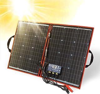 Dokio 100 W 18 V portabelt vikbart solpanelkit (54 x 73 cm, 2,7 kg) monokristallin (hög effektivitet) med kontroll 2 USB-u...