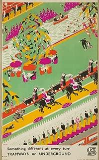 Tramways or Underground Vintage Poster (artist: Meldrum) England c. 1933 (24x36 Giclee Gallery Print, Wall Decor Travel Poster)