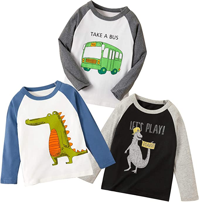Miss Bei 3Pcs Boys' Long-Sleeve T-Shirts Cartoon Tees Round Neck Kids Dinosaurs Cars Rocket Tops for 1-7T Pack Set