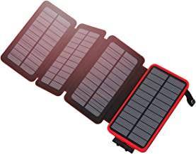 Hiluckey Solar Charger 25000mAh Portable Charger External Battery Pack with 4 Solar Panels and 2 USB Outputs for Smartphones and Tablets