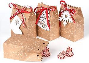 AerWo 12pcs Christmas Kraft Gift Bags, Holiday Paper Gift Bags Kraft Paper Treat Bags with Tags for Christmas Party Supplies, 5 x 3 x 7 Inch Mini Xmas Goodies Bags