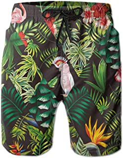 Parrot Pink Flamingo Palm Leaf Men Swim Trunks Drawstring Elastic Waist Surfing Beach Board Shorts