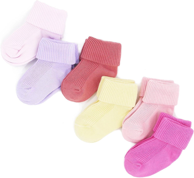 Newborn Infant Baby Girls Cotton Socks 6 Pack 0-12 Months