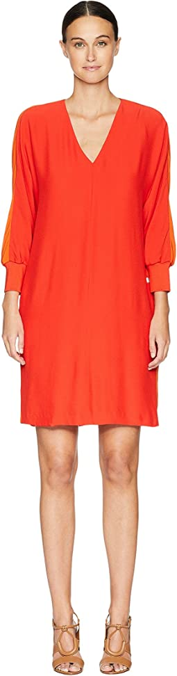 Dilinda Cuffed 3/4 Sleeve V-Neck Dress