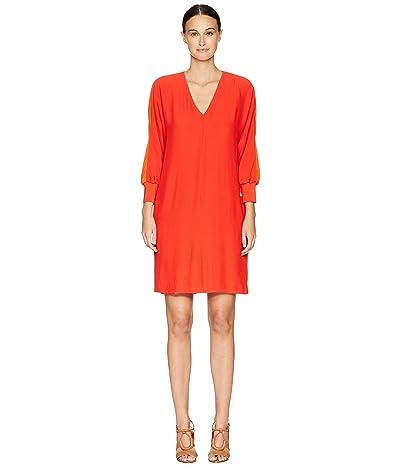 ESCADA Dilinda Cuffed 3/4 Sleeve V-Neck Dress (Bright Red) Women