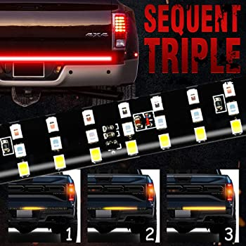 "MIHAZ LED Tailgate Light Bar - 48"" Triple Row 5-Function Strip Light Running, Brake, Sequential Amber Turn Signal, Reverse Tail Light for Pickup Trailer SUV RV VAN, No Drill Install 1yr-Warranty"