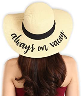Floppy Beach Sun Hat for Women - Large Brim Embroidered Summer Straw Hat for Vacation, Cruises, Honeymoon & Travel