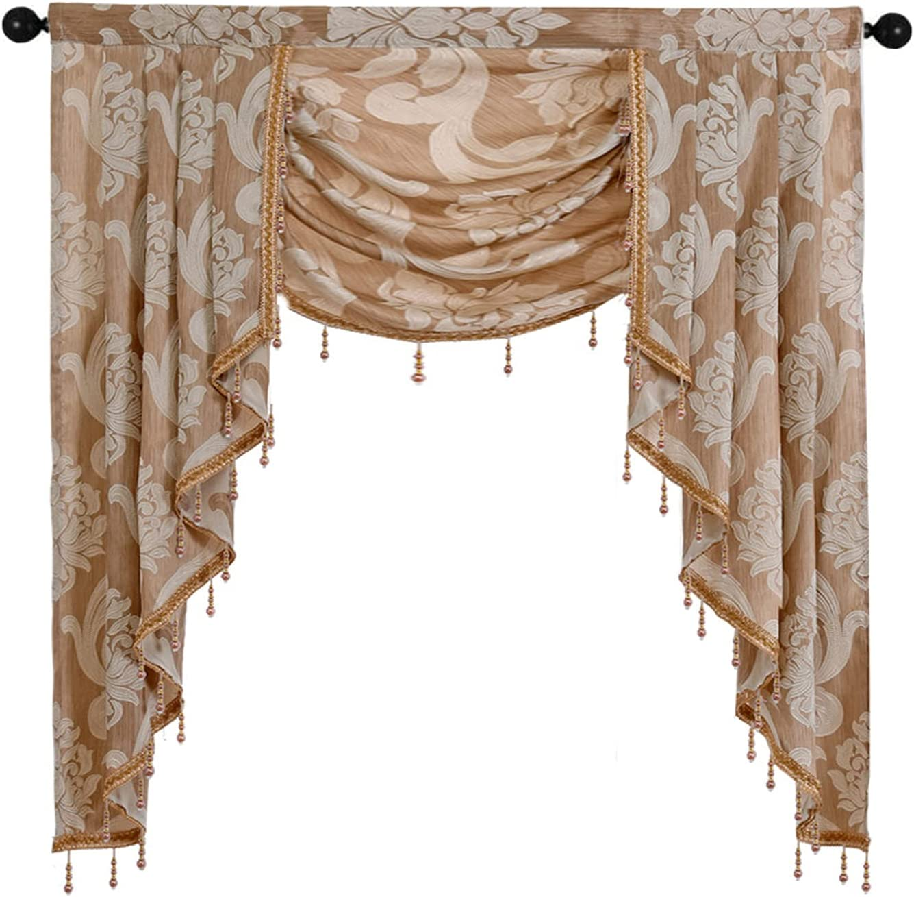 Beige Waterfall Valance for Living NAPEARL Price reduction Jacquard Special price for a limited time Room Kitche