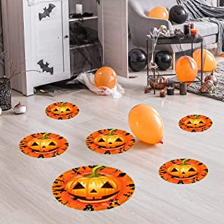 "12 Pcs Halloween Pumpkin Doll Floor Stickers-11.4""/ 7.8""/ 6.3"" Round Large Floor Decals with Pumpkin Ghost Zombie Dead Tre..."