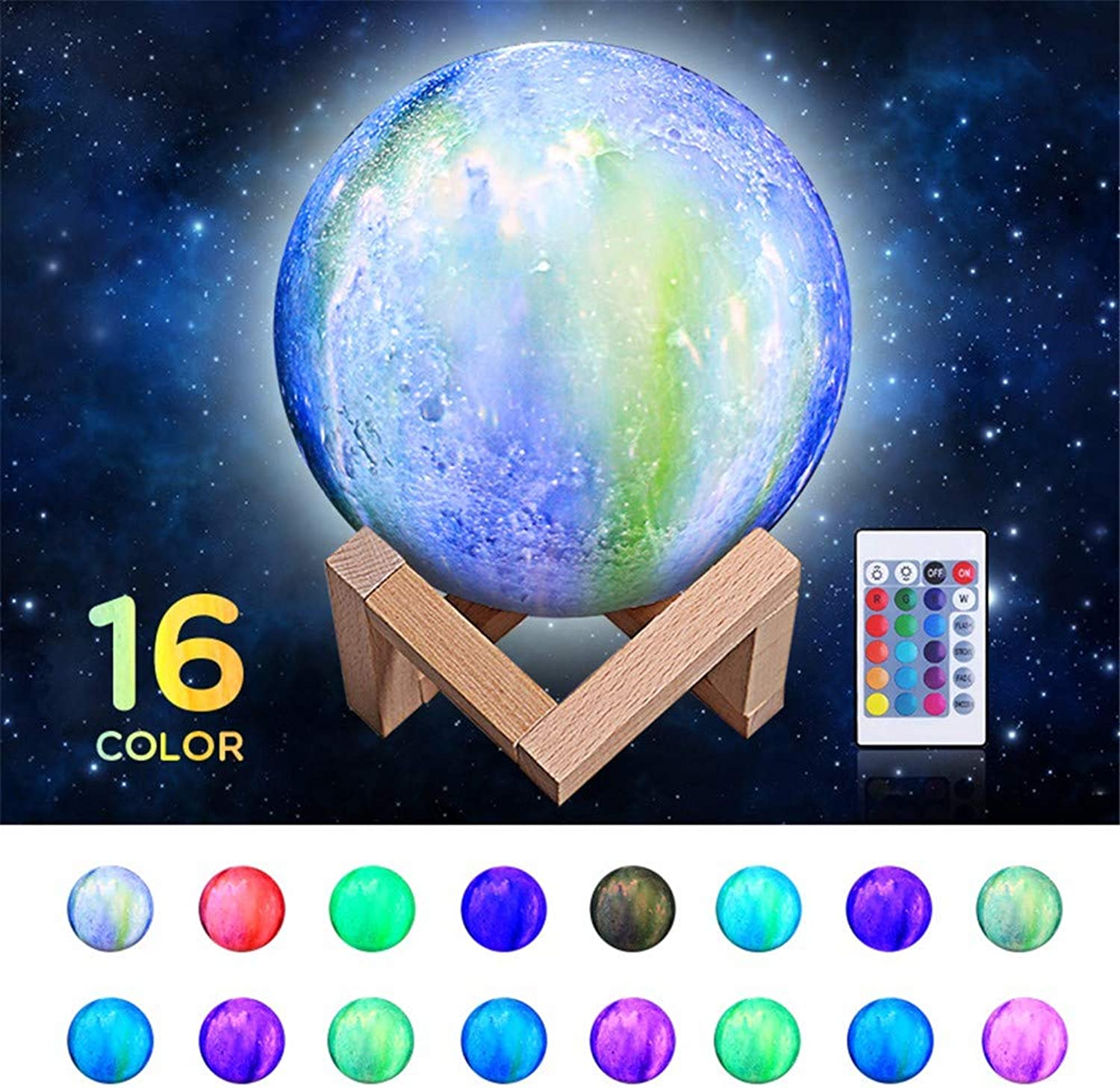 DZXGY 16color 3D Print Star Moon Lamp Change Touch Night Light Home Decor Creative Gift USB Rechargeable Night Light Galaxy Lamp12cm
