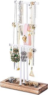 Love-KANKEI Présentoir de Bijoux Arbre à Bijoux en Métal et Bois pour Colliers Bracelets et Boucles d'oreilles