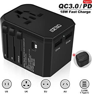 LOETAD Travel Adapter International Travel Plug Adaptor Universal Worldwide Use 33W USB C QC PD Fast Charge with Double Fuse