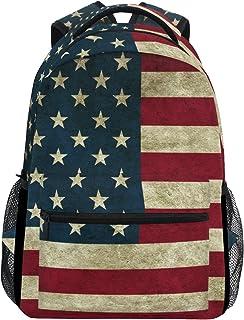 TIZORAX Mochila vintage de la bandera americana para la escuela, mochila de senderismo, mochila de viaje