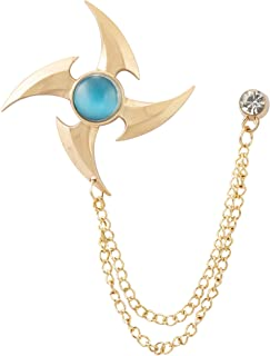 Knighthood Men's Golden Blade with Blue Stone Detailng Chain Tassel Suit Collar Brooch