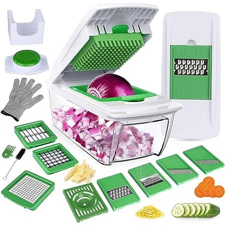 Mandoline Cuisine Multifonction Couper les Legumes Séparer les Oeufs Vert 7Lames Couteau en Acier Inoxydable Rapide et Facile à Nettoyer Au Lave-vaisselle/Gants et Brosse par Bonus